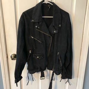 FREE PEOPLE Navy Denim Moto Jacket